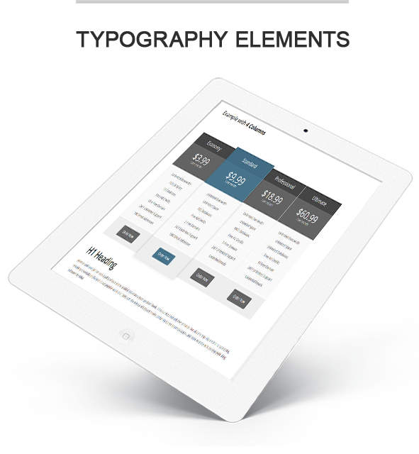 typography elements - pricing table