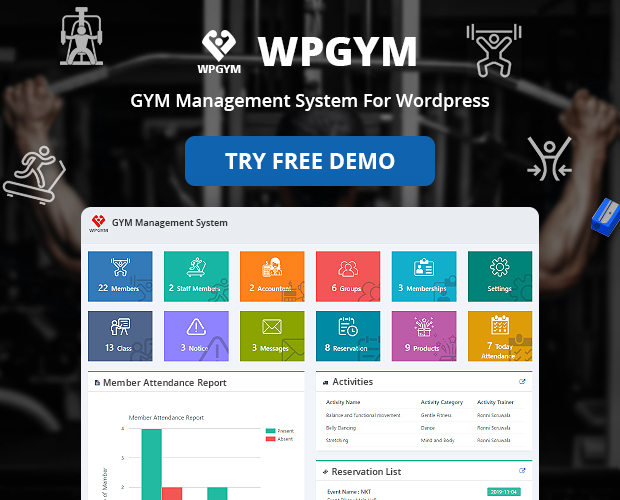 Gym plugin features