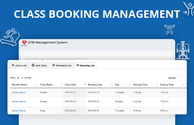 Gym class booking Software