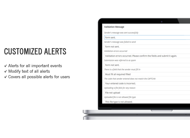 alerts spicy contact form