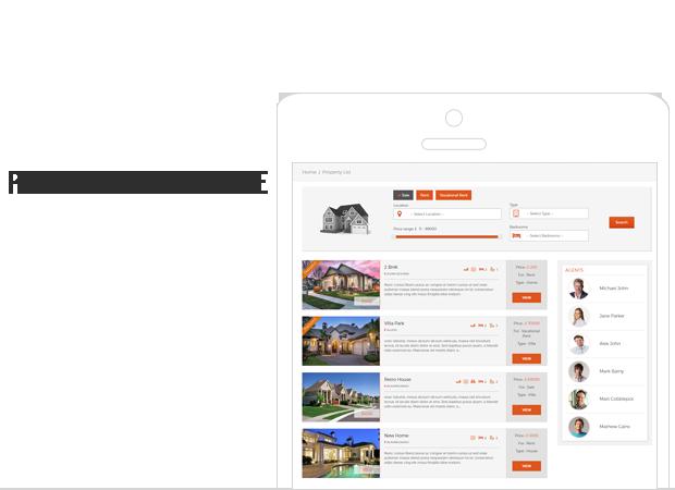 lista de propiedades de front-end de bienes raíces